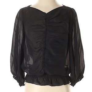 Ted Baker Black silk ruched panel top size 1 (2-4)